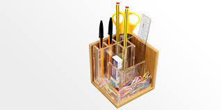 pen holder stationary stand bamboo pensil pot office supplies