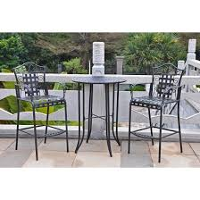 Mandalay Piece Iron Bar Height Patio Bistro Furniture Set - Black outdoor furniture