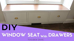 How To Build A Window Seat In A Bay Window - how to make a window seat with drawers youtube