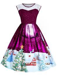 dresses purplish red 4xl plus size lace insert sleeveless