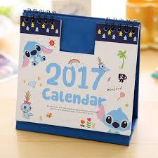 2017 cartoon animal desk desktop calendar flip stand office