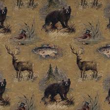 Tapestry Upholstery Fabric Discount A027 Rustic Bears Fish Ducks Deer Trees Tapestry Upholstery Fabric