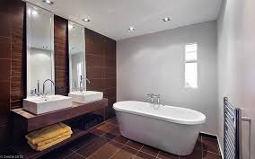 brown and white bathroom ideas contemporary bathroom with white modern freestanding bathtub and