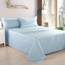Blue Bed Frame Satin Weave Cotton Color Light Blue Bed Sheets Sufey