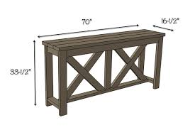 Height Of End Table by Diy X Brace Console Table Free Plans Rogue Engineer