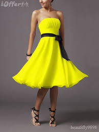 cute lemon yellow cocktail ball bridesmaids u0027 prom dress for sale