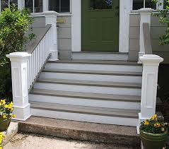 Porch Steps Handrail Wider Steps Simple Columns Railing Nice Colors Maybe For Our