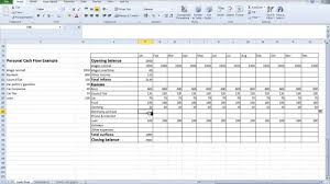 Spreadsheet Examples For Budget by Spreadsheet Personal Cash Flow For Students Youtube