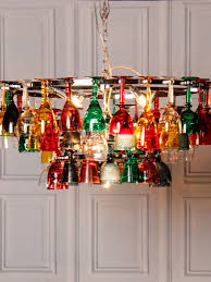 Multi Coloured Chandeliers Coloured Wine Glass Chandelier Upcycling Pinterest Wine