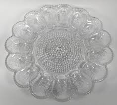 glass egg plate hobnail glass deviled egg plate indiana glass vintage grace