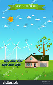 poster banner eco friendly house solar stock vector 453353218