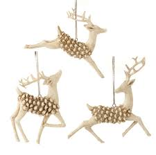raz leaping pinecone deer ornaments s3 wd shelley b