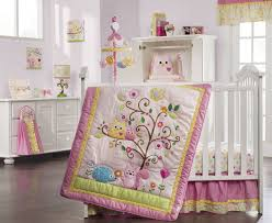 Quilted Bed Valance Baby Nursery Cute Purple Baby Nursery Room Decoration With
