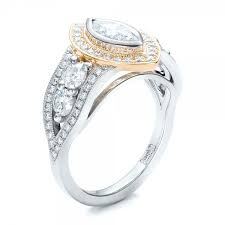 two engagement ring custom marquise two tone engagement ring 101258