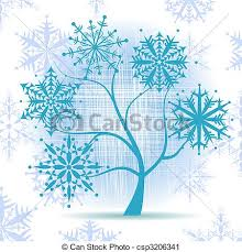 vector clip of winter tree snowflakes