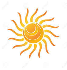 yellow shiny sun with rays and circle waves royalty free cliparts