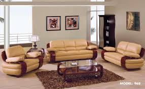 1876 2 pcs tan leather living room set sofa and loveseat by
