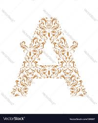 floral letter a ornament font royalty free vector image