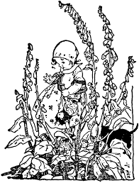young picking flowers in garden clipart etc