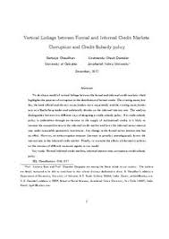 Formal Credit Policy Vertical Linkage Between Formal And Informal Credit Markets