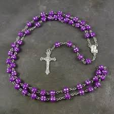 purple rosary plastic rosary with silver spotted detail