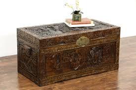 Chest Coffee Table Sold Carved Vintage Chor Wood Linen Trunk Dowry