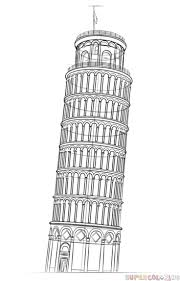 how to draw the leaning tower of pisa step by step drawing tutorials