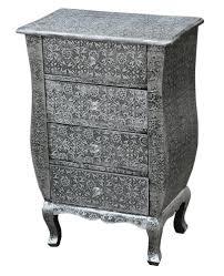 grey metal bedside table chaandhi kar black silver embossed 4 draw bedside cabinet amazon co