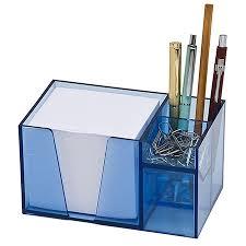 Paper Desk Organizer Desk Organizer Pencil Paper Clip Holder Clear Blue Color With Paper