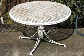 Metal Mesh Patio Table Collection In White Patio Table Small Metal Patio Table