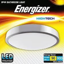 energizer led flush silver bathroom ceiling light fitting ip44