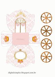 como hacer mascaras en forma de rosa corona en dorado y rosa caja con forma de carruaje para imprimir