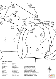 michigan map worksheet coloring page free printable coloring pages