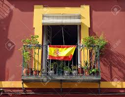 The Spain Flag Balcony Of A House Decorated With The Spanish Flag Spain Stock