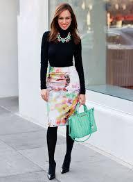 Wool Skirts For Winter Women U0027s Black Turtleneck White Floral Pencil Skirt Black Leather