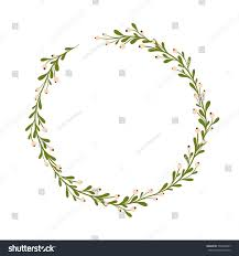 Mistletoe Decoration Cute Gentle Handsketched Mistletoe Wreath Seasonal Stock Vector