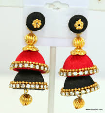 thread earrings silk thread layer jhumka earring color simpliful