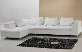 Low Back Sofa White Leather Couch With L Shape Shape Combined With Low Back And