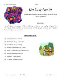 comprehension worksheet my busy family collection