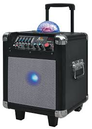 bluetooth party speakers with lights qfx pbx507100sl portable battery powered bluetooth mini party