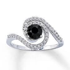 kays black engagement rings black ring 1 ct tw cut 10k white gold