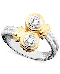 two tone gold engagement rings 14k two tone gold twist ring 1 3 ct t w rings