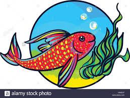 bright aquarium fish tropical animal art cute cartoon style
