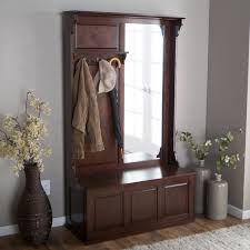 examples of home storage furniture with hall tree storage bench cool hall tree storage bench with wooden material made and coat rack also vertical mirror plus grey ceramic vase flower and laminated wood flooring small