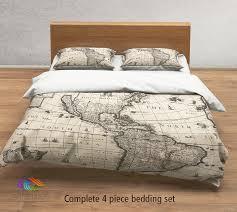 Antique Rose Comforter Set Vintage Map Bedding Vintage America Old Map Duvet Cover Antique