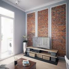 scandinavian living room with brick wall and grey panelling home scandinavian living room with brick wall and grey panelling