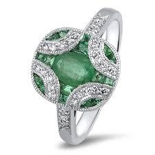 18ct art deco emerald and diamond ring sanders jewellers