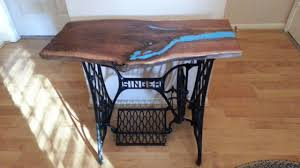 live edge table with turquoise inlay handmade live edge walnut entry table with turquoise inlay on singer
