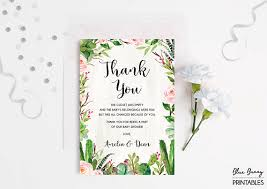 Thank You Cards For Baby Shower Gifts - succulent thank you card cactus baby shower thank you note