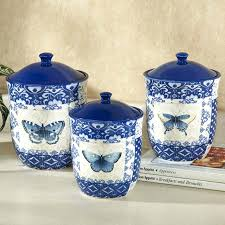 blue and white kitchen canisters blue and white canisters kitchen indigo nature butterfly kitchen